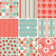 Vector set of 9 Valentine's Day heart patterns. — Stok Vektör
