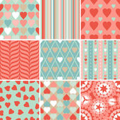 Vector set of 9 Valentine's Day heart patterns. — Stock Vector