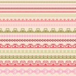 Set of hand drawn lace paper punch borders. — Stock Vector