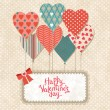 Background with balloons in the shape of heart and note paper. — Vector de stock