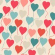 Seamless pattern with flying balloons in the shape of a heart. — 图库矢量图片