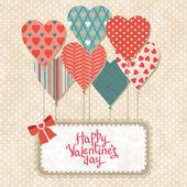 Fond avec des ballons en forme de coeur et note de papier. — Vecteur
