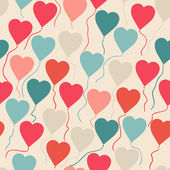 Seamless pattern with flying balloons in the shape of a heart. — Stock vektor