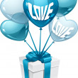 Background with balloons in the shape of heart and gift box. — Stockvektor