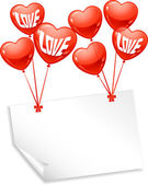 Background with balloons in the shape of heart and note paper. — Vecteur
