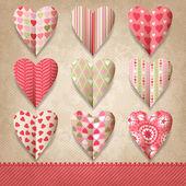 Plantilla de chatarra de diseño vintage con corazones. — Vector de stock