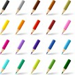 Collection of colored pencils on white background. — Stock Vector
