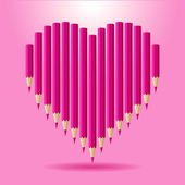 Heart of pink pencils. Vector background Valentine's Day. — Διανυσματικό Αρχείο