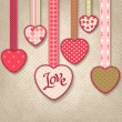 Retro background of vintage design with hearts. — Imagens vectoriais em stock