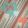 Retro background of vintage design with hearts. — Stock Vector