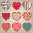 Retro background of vintage design with hearts. — Stock Vector #16958579