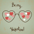 Valentine card with glasses, heart. Vintage design. — 图库矢量图片