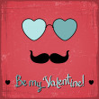 Stock Vector: Valentine card with glasses, heart and mustache.