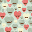 Valentine seamless pattern with heart and mustache. - Stock Vector
