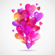 Valentine's Day vector background with flying hearts. — Stock Vector