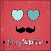 Valentine card with glasses, heart and mustache. — Stock Vector