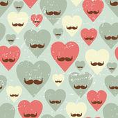Valentine seamless pattern with heart and mustache. — Stock Vector