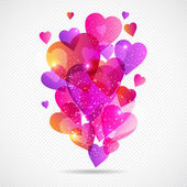 Valentine's Day vector background with flying hearts. — 图库矢量图片