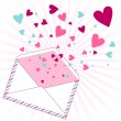 Background with hearts flying out of the envelope. — Imagens vectoriais em stock