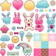 Set of decorative design elements with kawaii doodles. — Stock vektor