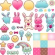 Set of decorative design elements with kawaii doodles. — Imagens vectoriais em stock