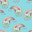 Seamless kawaii child pattern with cute doodles. — Stockvektor