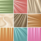 Set of 9 satin backgrounds. Vector illustration. — Stock Vector