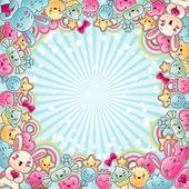 Söta barn bakgrund med kawaii doodles. — Stockvektor