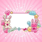 Cute child background with kawaii doodles. — Stock Vector