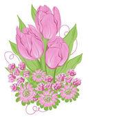 Design of vector tulips. (Flower background) — Wektor stockowy