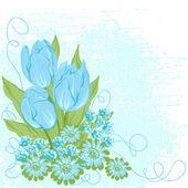 Design card of vector tulips. (Flower background) — Stock Vector