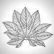Vector Illustration Of Black Leaf - Stock Vector