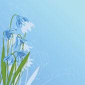 Pastelové pozadí s modrými sněženka — Stock vektor