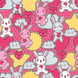 Seamless kawaii child pattern with cute doodles. — Stock vektor