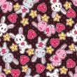 Seamless kawaii child pattern with cute doodles. — Grafika wektorowa