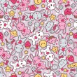Seamless kawaii child pattern with cute doodles. — Stock Vector