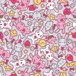 Seamless kawaii child pattern with cute doodles. — Stockvectorbeeld