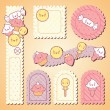 Set of decorative design elements with kawaii food. - Stock Vector