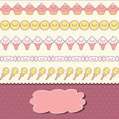 Seamless kawaii pattern with cute cakes. — Vecteur
