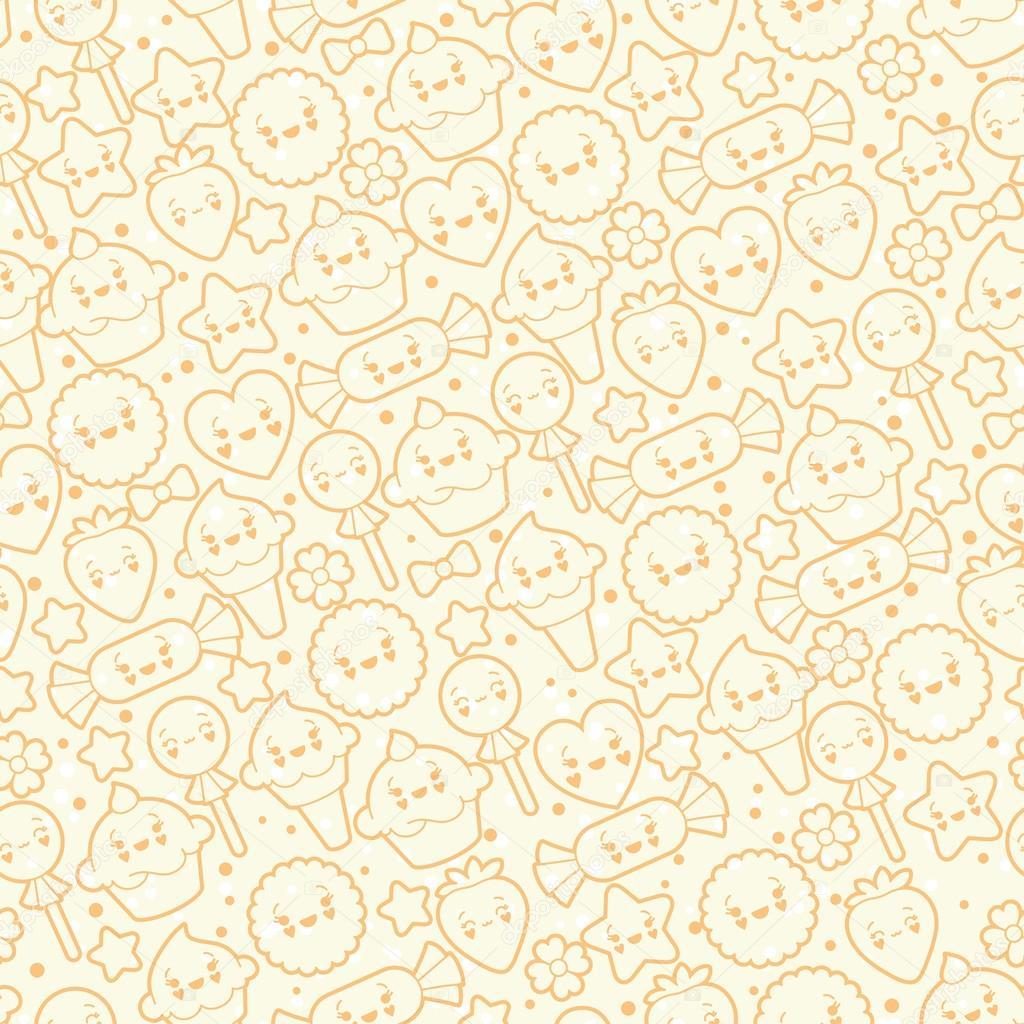 Patrón de kawaii inconsútil con lindos pasteles \u2014 Archivo Imágenes Vectoriales 17832757
