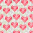 Seamless geometric pattern with origami hearts. — Stock Vector