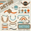 Collection of labels and ribbons in retro vintage style. - Stock Vector