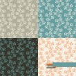 Set of four floral retro seamless patterns. — Stock Vector
