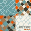 Stock Vector: Set of four abstract retro seamless patterns.