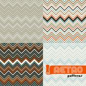 Conjunto de cuatro patrones abstractos de inconsútiles retro. — Vector de stock
