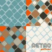 4 つの抽象的なレトロなシームレス パターンのセット. — ストックベクタ