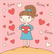 Vintage Valentine's day card of girl with heart. — Stock Vector