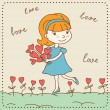 Vintage Valentine&#039;s day card of girl with hearts. - Stock Vector