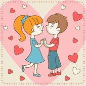 Vintage Valentine's day card of boy kisses girl. — Stock Vector