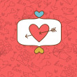 Valentine&#039;s day love postcard with hand drawn doodles. - Stock vektor